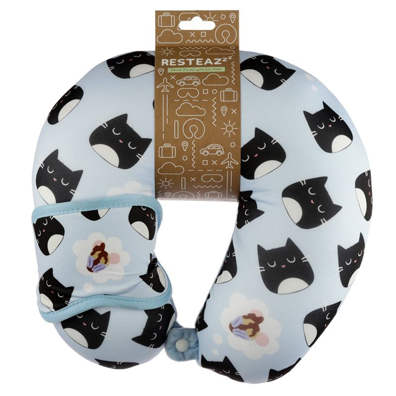 Cat Round Travel Pillow & Eye Mask